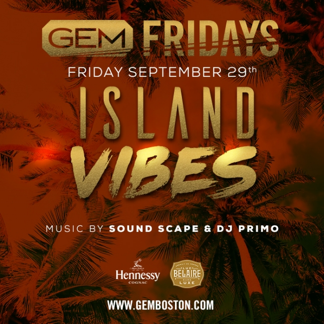 This Friday our Sell Out Monthly Party, Island Vibes, Returns! Early arrival is  HIGHLY Recommended!        Music By  :  Sounds Scape  &  DJ Primo  Playing the latest in your favorite International Mixes ( Reggae, Soca, Reggaeton, Afro Tunes & Pasada) alongside your favorite Hip Hop Hits!   LIMITED Early Bird Tickets  &  Table Specials Compliments of Hennessy & Belaire Luxe  Below! LETS GET BENT!