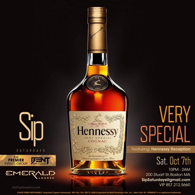 "Mixing BENT Hip Hop party vibes with Trendy & Fashionable Young Professionals, Sip Saturdays at Emerald is the new ""must go"" destination on Saturdays for those who love great food, drinks and dancing !   This Edition of SIP Saturday will be sponsored by Team Hennessy & will feature a Hennessy Reception with FREE Hennessy to kick off the night!   For More Information Text 781.408.0612 LETS GET BENT"