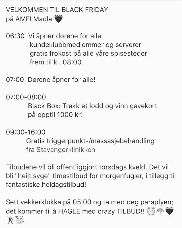 I dag er der Black Friday og Stavangerklinikken står på @amfimadla å gir gratis massasje og trriggerpunktbehandling kl.09.00-16.00 🤩 Håper vi ser deg der 😃  #blackfriday #amfimadla #massasje #behandling #stavanger #madla #triggerpunkt #gratis