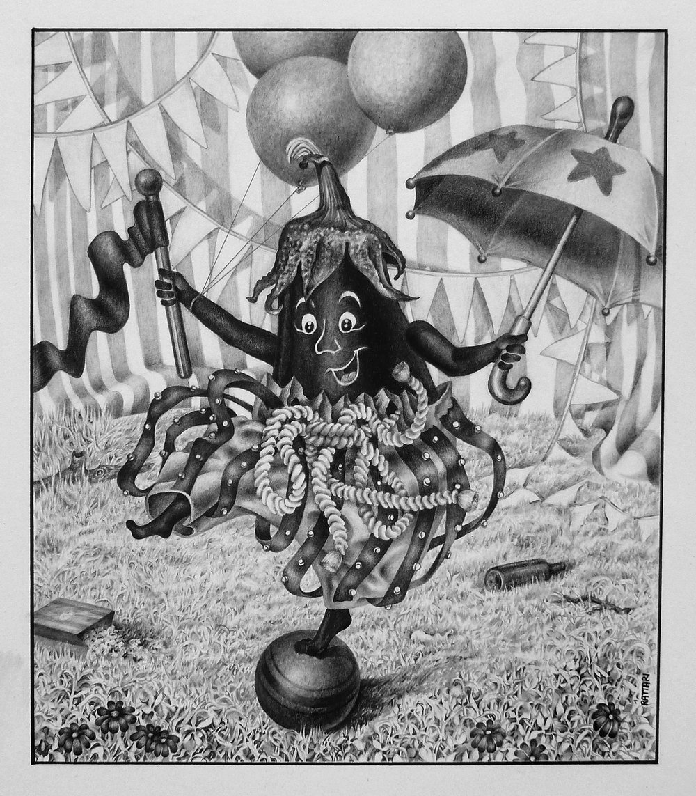 Circus Eggplant,  Graphite & Carbon on Bristol, 7x6in