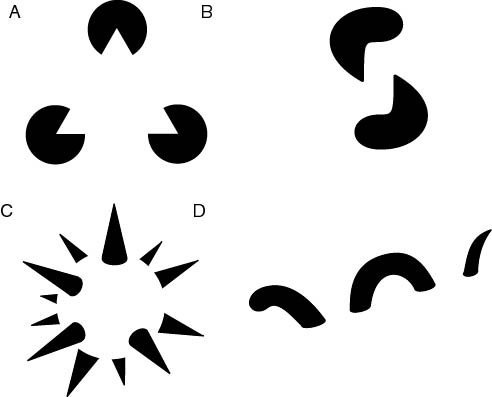 Examples of Gestalt Images. In this images, the observer completes images out of void spaces. They create the illusion of a triangle (A), a tube (B), a sphere (C) and a liquid surface (D) even when none of these images are actually drawn. This approach can be helpful when considering that fragmentation creates voids in the city fabric that can be conceptually connected. Description. Author: Albert Kok, assumed (based on copyright claims). 7 February 2007. Registered as Public Domain. Available at Wikimedia Commons.