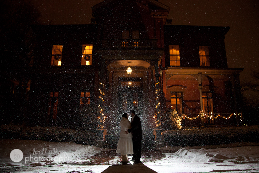 bride and groom in snow backlit