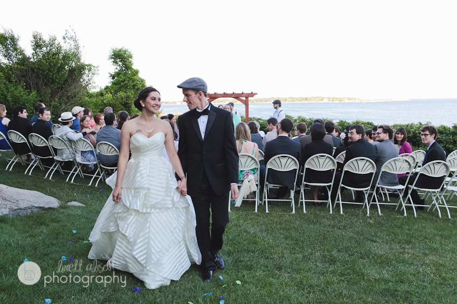 wedding ceremony outside hammond castle gloucester