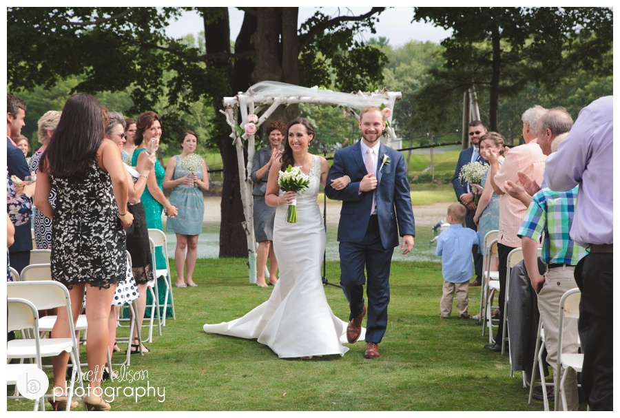 Love getting the recessional shots! From Jocelyn and Tom's wedding at the York Golf & Tennis Club, York, ME