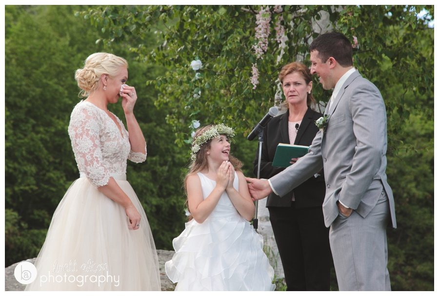 There was a lot of emotion during this part of the ceremony, Jamie and Stephen brought in Stephen's daughter for some special vows to her.