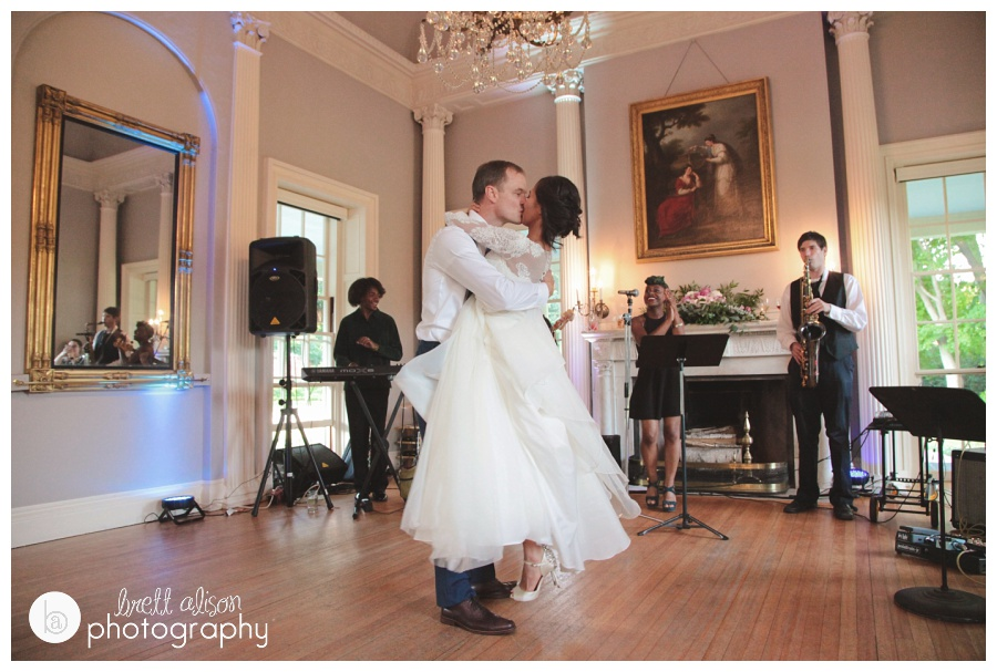 The ending to an epic dance routine by Tony and Fara at the Lyman Estate!