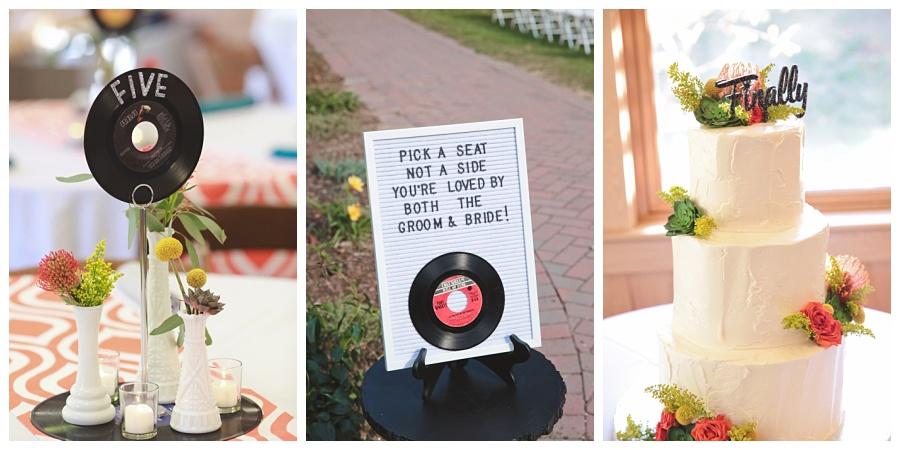music vinyl record inspired wedding details