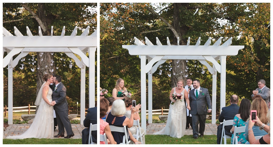 wedding ceremony outside inn at pleasant lake nh