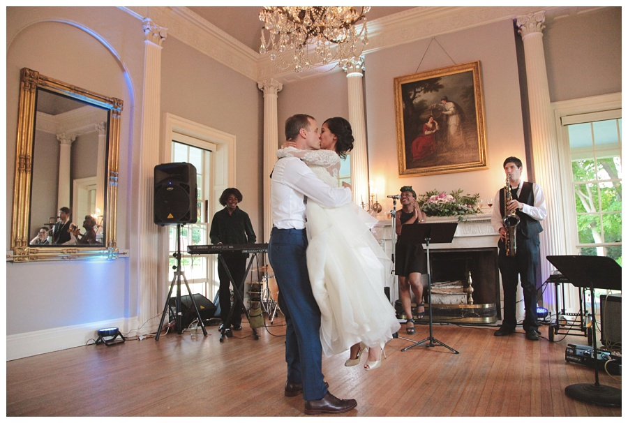 big kiss at the end of first dance wedding