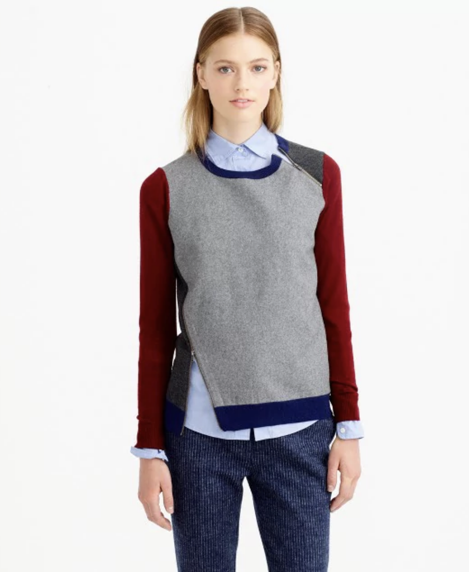 J.CREW MERINO WOOL ASYMMETRICAL ZIP SWEATER IN COLORBLOCK ($89)