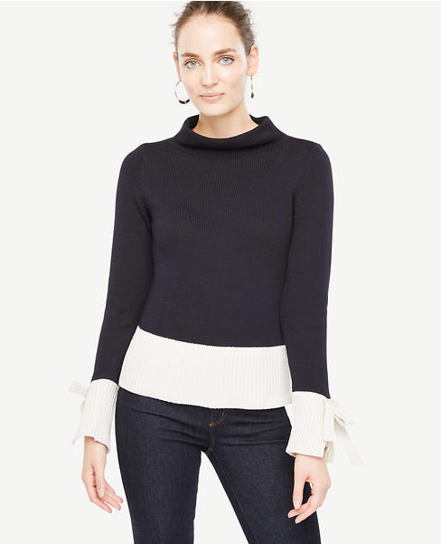 ANN TAYLOR COLORBLOCK TIE SLEEVE SWEATER ($89.50)