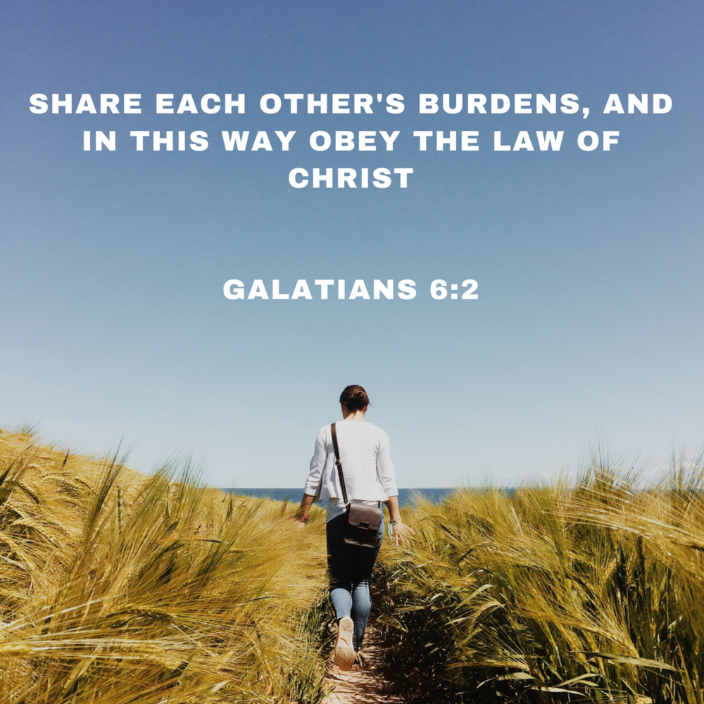 Share each others burdens, and in this way obey the law of christGalatians 6_2.png