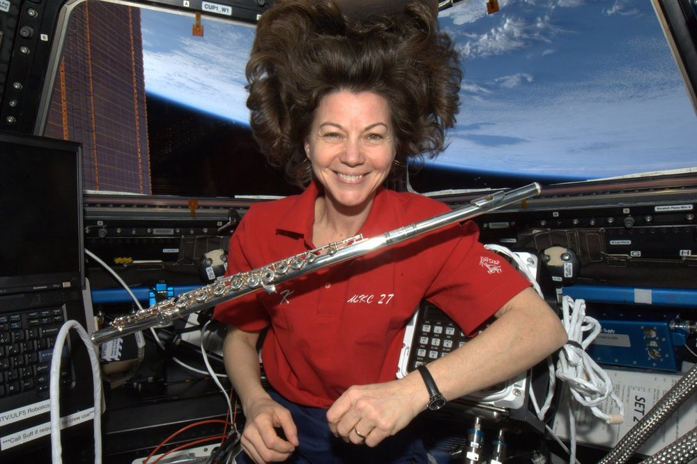 Cady Coleman  Space. Cady is former NASA astronaut, and the first flutist to play in space.