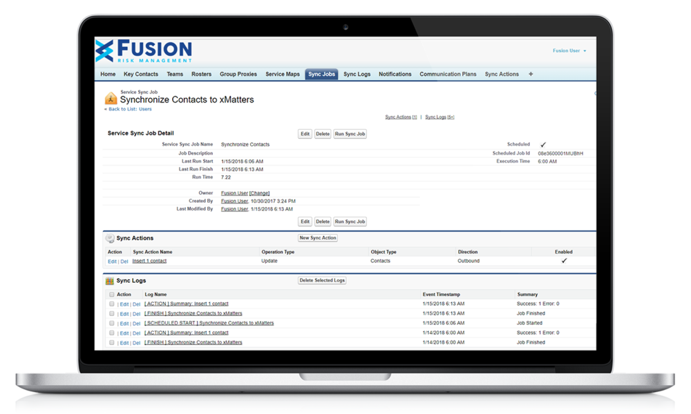 Fusion Connector Series screen shot on laptop