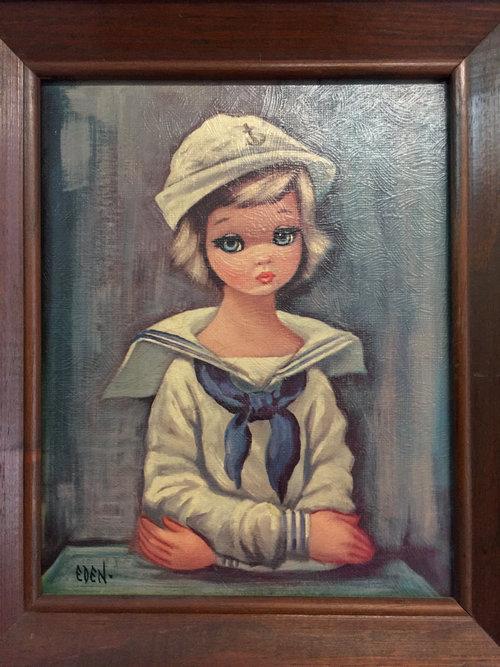 vintage big eyed sailor girl painting by eden vintage painting