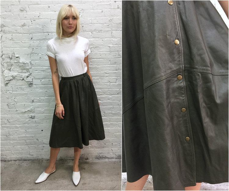 vintage taupe green full leather skirt / neutral tone minimalist ...
