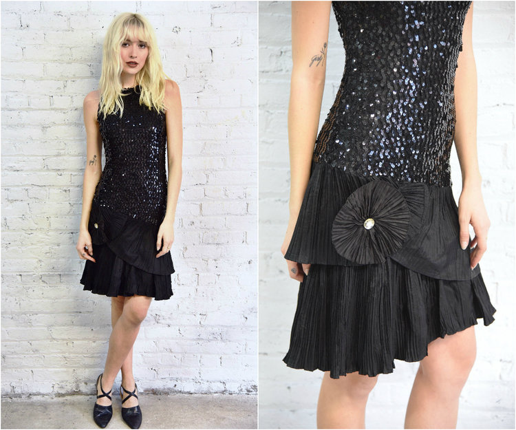 80s Black Sequin Cocktail Party Dress 1980s Prom Fitted Sleeveless