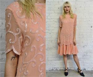vintage blush pink silk beaded dress / pale pastel pink wedding ...