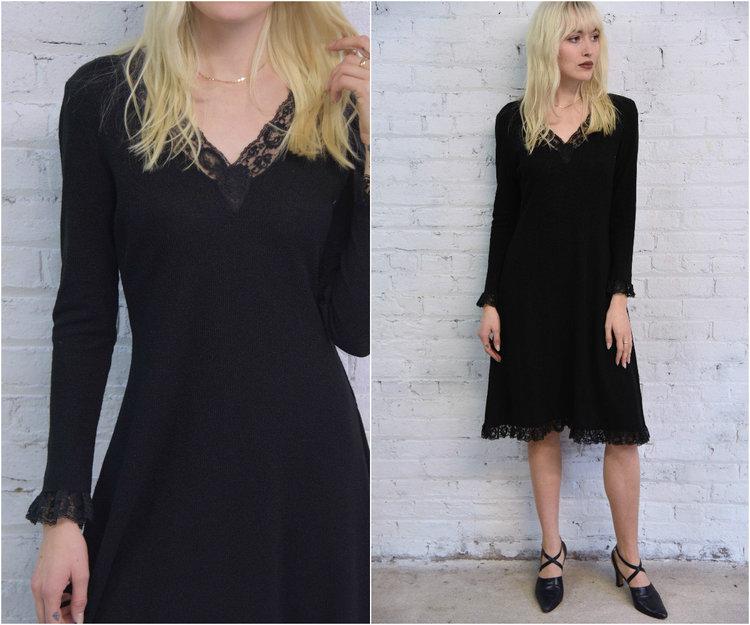 60s Black Knit Sweater Dress Black Lace Trim Cocktail Party Dress
