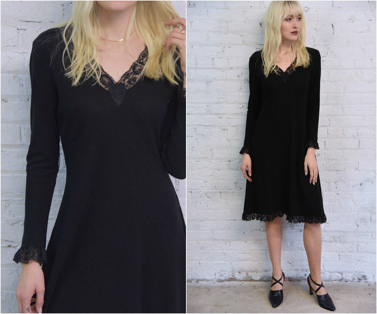 ff4c2fb42b 60s black knit sweater dress   black lace trim cocktail party dress   goth  witchy Elvira dress — Dusty Rose Vintage