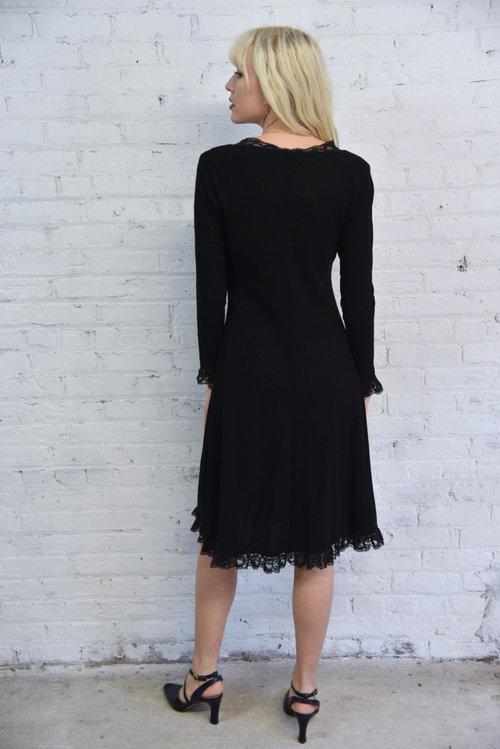 ede1393d33 60s black knit sweater dress   black lace trim cocktail party dress   goth  witchy Elvira dress