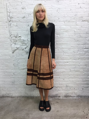 9e84ad807c vintage 70s brown suede a line skirt / 1970s tan patchwork high waist suede  skirt / crochet paneled suede skirt