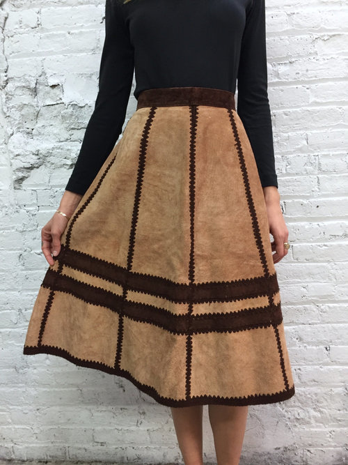 vintage 70s brown suede a line skirt / 1970s tan patchwork high ...