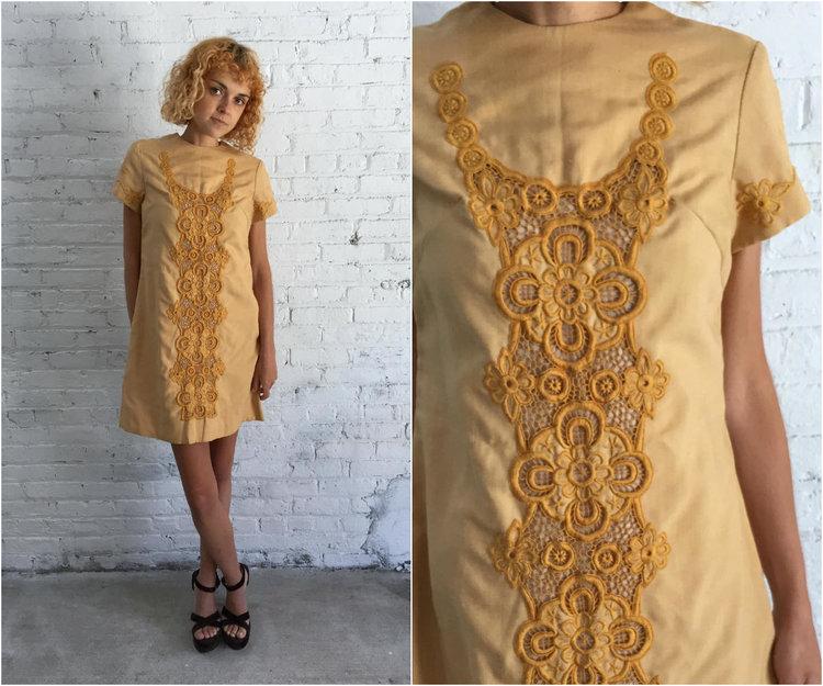 364a473f3e8e vintage 60s mod dress   mustard yellow shift dress   twiggy mini dress   go  go dress   embroidered dress — Dusty Rose Vintage