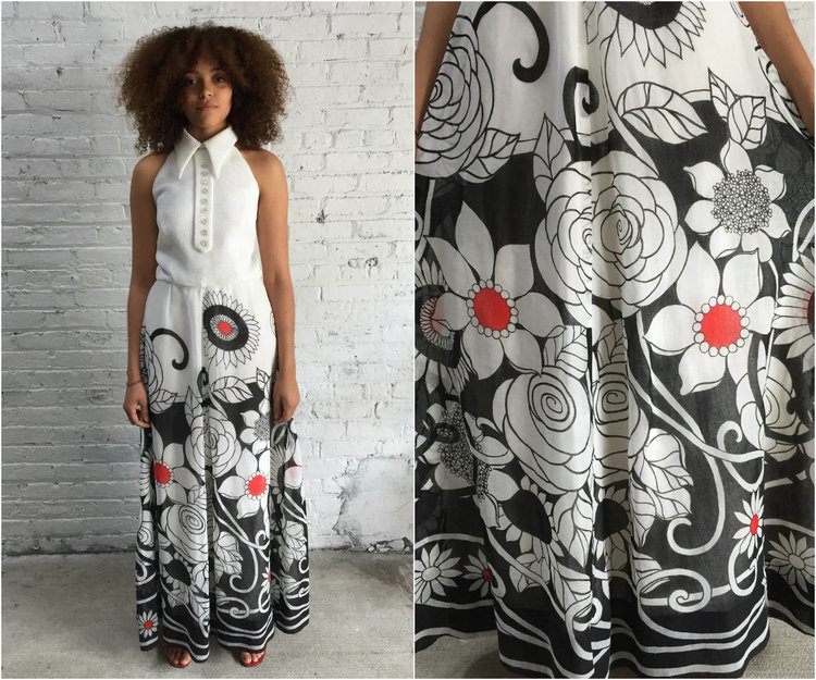 60s Mod Halter Top Maxi Dress 1960s Black And White Floral Print