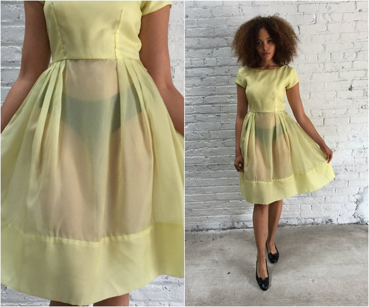 Vintage 50s Pastel Yellow Taffeta Party Dress 1950s Pale Cupcake Prom