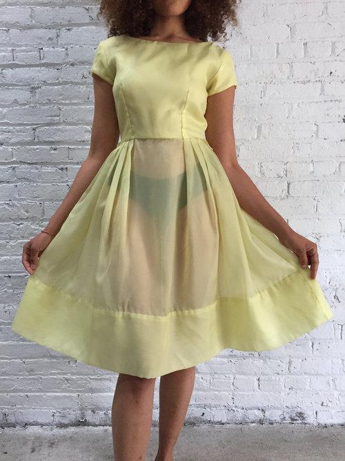 Vintage 50s Pastel Yellow Taffeta Party Dress 1950s Pale Yellow