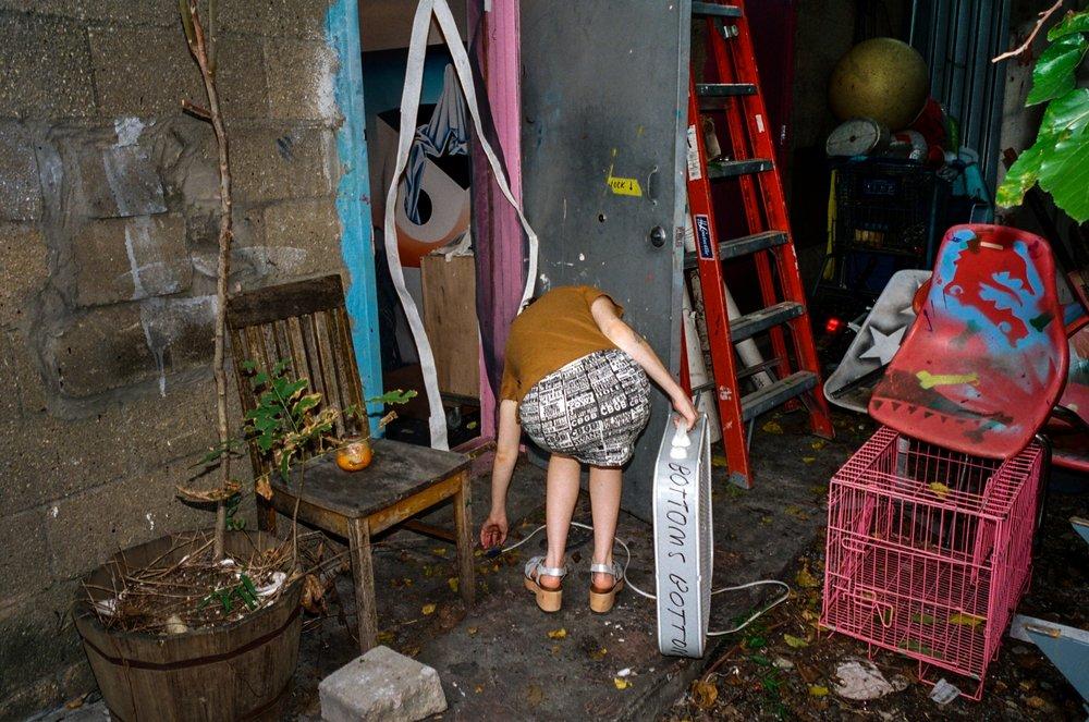 50s brown school girl shirt / short collar 1950s cotton button down shirt , 90s CBGB band mini skirt / black and white bandage mini skirt / punk grunge hardcore indie band logos