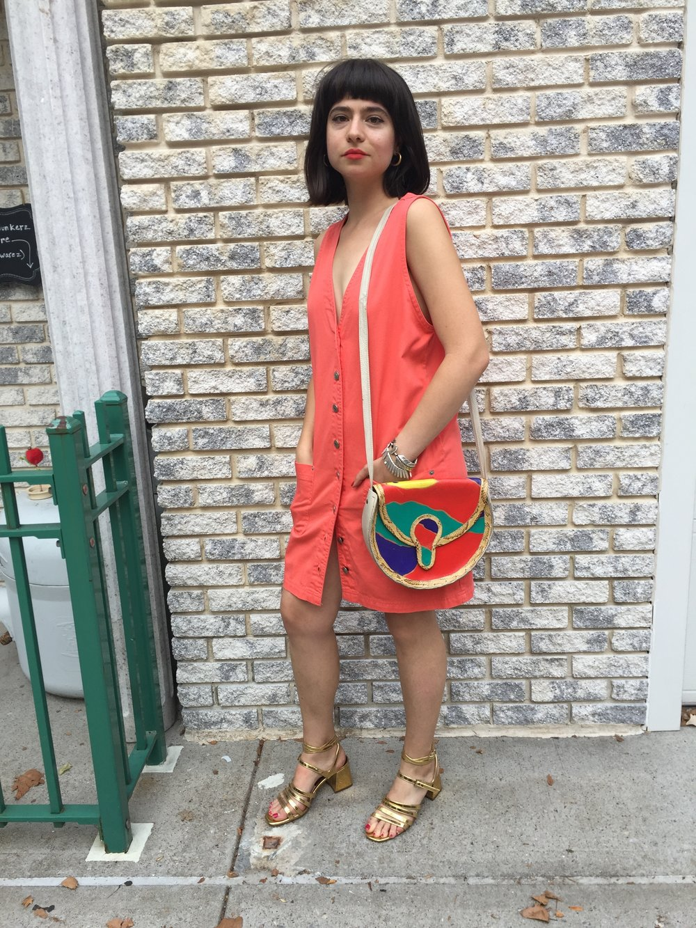 salmon denim smock dress / coral button front chambray dress ,handmade designer vintage Mille Fiori purse / bold leather cross body bag with snakeskin details