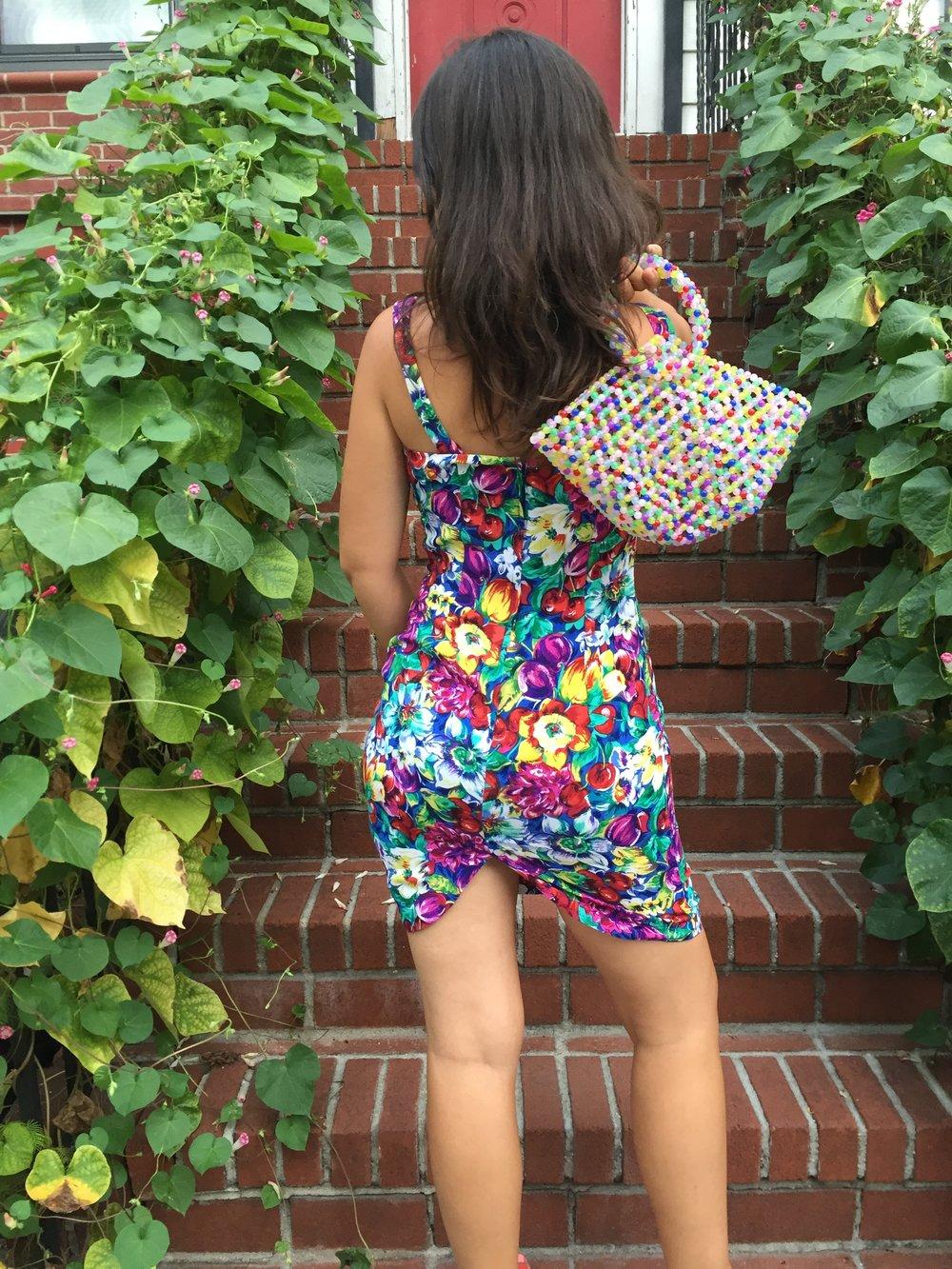 vintage floral and fruit print dress / abundance body con bandage sleeveless dress