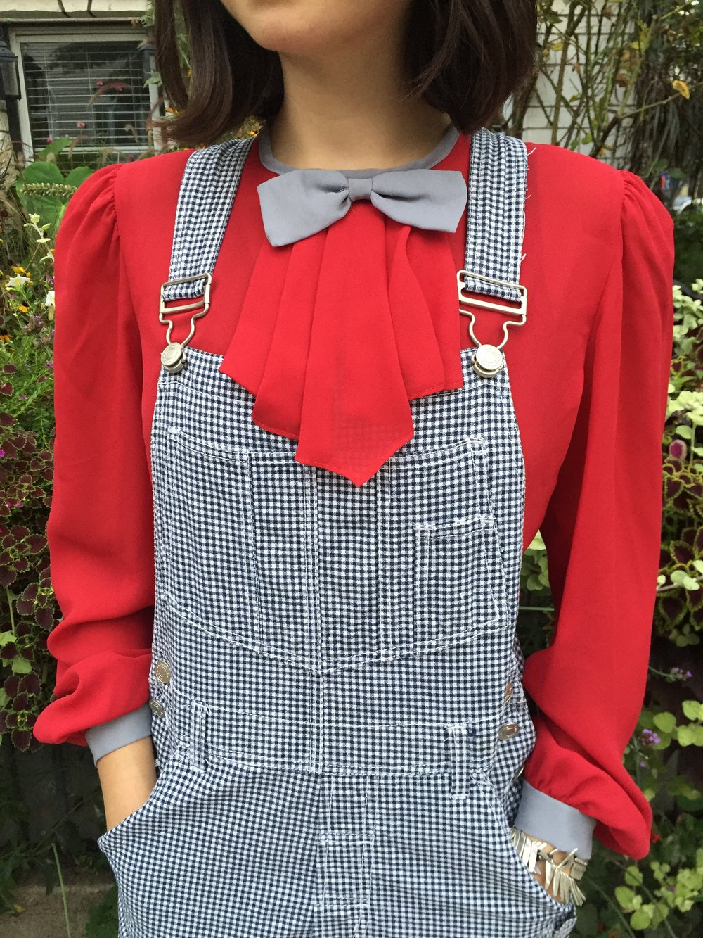 burgundy and gray kitten bow secretary blouse / bow tie top , vintage gingham shortalls / vintage denim shorts overalls