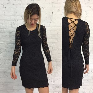 76b5a9bb5c vintage CACHE black lace lbd with corset lace up back   black bandage body  con cocktail ...