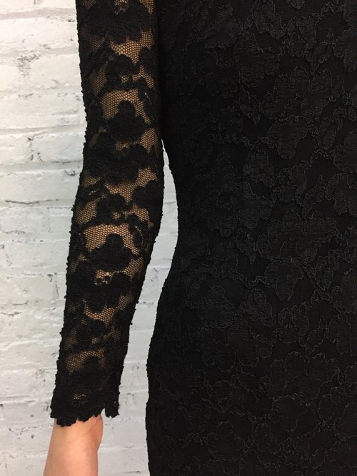 61c333a4f3f vintage CACHE black lace lbd with corset lace up back   black bandage body  con cocktail dress