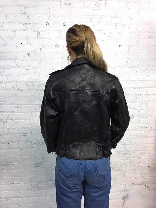 Vintage 80s Black Leather Motorcycle Jacket Womens Vintage Moto