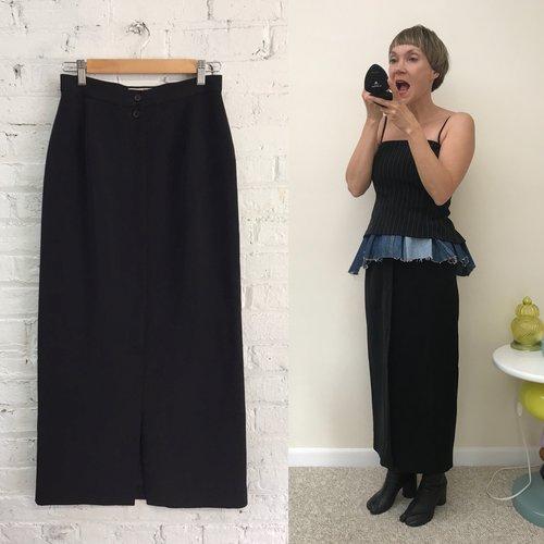 1019b7538b vintage 80s french minimalist black column skirt / Votre Nom high ...