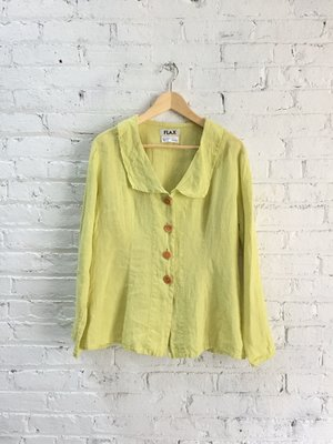 75b5c24571524 vintage linen Flax top   romantic chartreuse blouse   yellow green button  down shirt ...