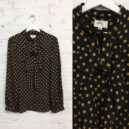 b4235161435154 Milly mustard yellow polka dot silk blouse / ruffle pussy bow top ...