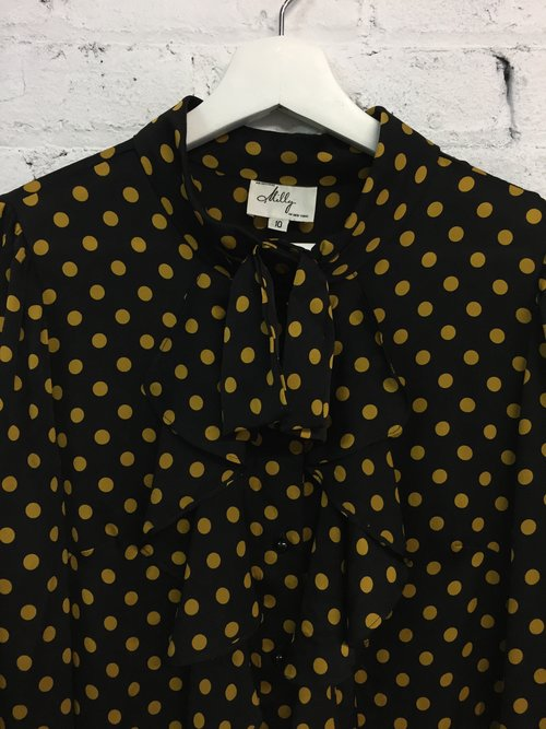 e9cf0f718e13ac Milly mustard yellow polka dot silk blouse / ruffle pussy bow top / silk  kitten bow blouse