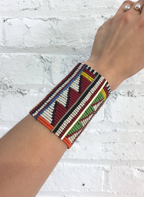 Vintage Handmade Beaded Cuff Native American Pattern Bracelet