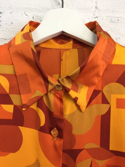 fdd3321c1980be vintage 80s silk abstract print silk monochrome blouse   orange  monochromatic top   silky citrus button down shirt
