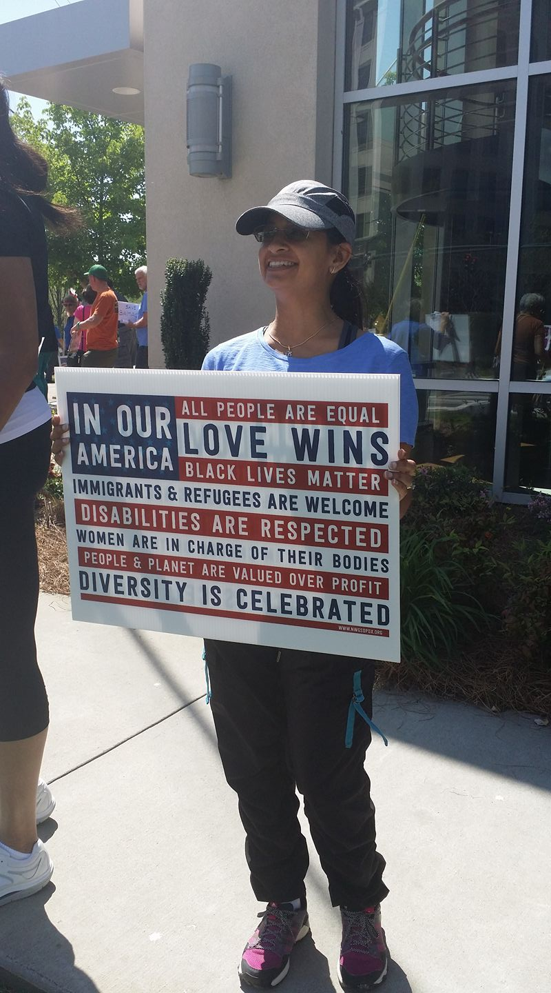 Protesting Pittenger - Dimple Shah, NC District 9 constituent and a Precinct 215 organizer.