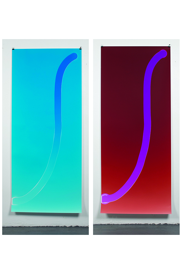 Total Product Curve #1001000100500, 2017, Chromogenic Photogram, 30 x 68 in. Total Product Curve #002001000200, 2017, ChromogenicPhotogram, 30 x 68 in.