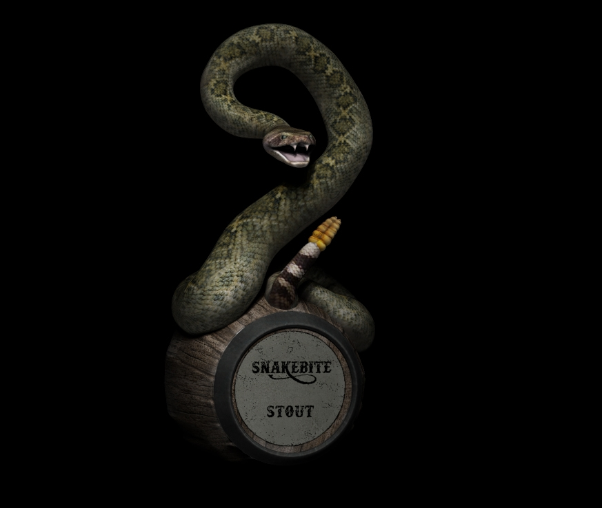 Since this custom beer-tap handle was intended for printing in full color, using the Mcor Iris, texture maps were used to create the scales and wood grain rather than modeling each. This resulted in a faster build time, a cleaner looking print, and a model which was much easier to post process.