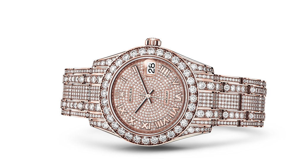 """PEARLMASTER 34<br><span class=""""watch-des"""">Oyster, 34 mm, Everose gold and diamonds</span>"""