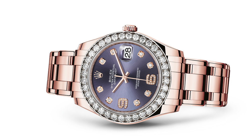 "PEARLMASTER 39<br><span class=""watch-des"">Oyster, 39 mm, Everose gold and diamonds</span>"