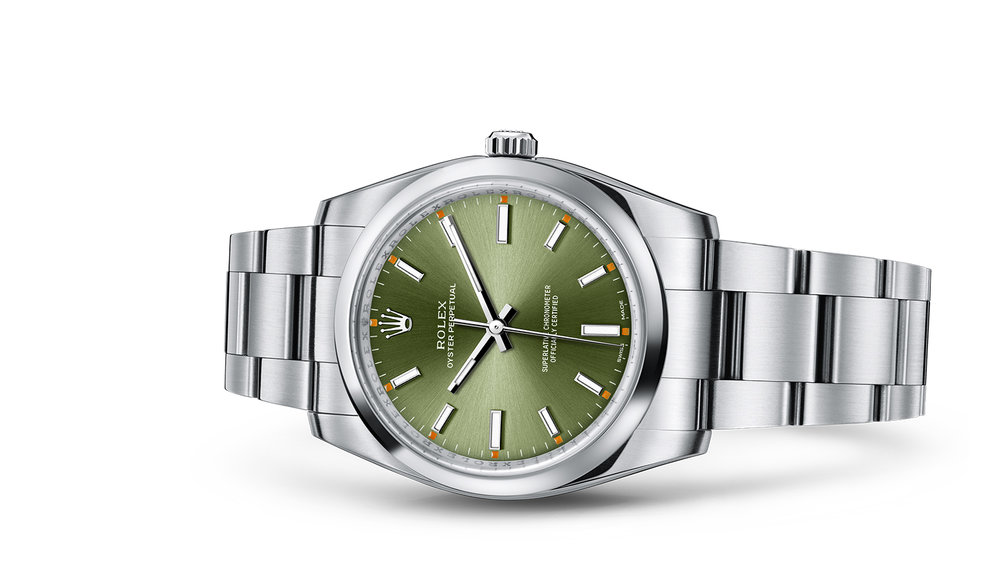 """OYSTER PERPETUAL 34<br><span class=""""watch-des"""">Oyster, 34 mm, Oystersteel</span>"""